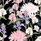 Seamless pattern. Beautiful pink violet blooming flowers. Vintage black background. Lilac, chrysanthemums and wildflowers. Wallpaper or print for textile royalty free illustration