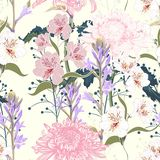 Seamless pattern. Beautiful pink violet blooming flowers. Vintage yellow background. Lilac, chrysanthemums and wildflowers. Wallpaper or print for textile stock illustration
