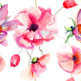 Seamless pattern Beautiful Poppy flowers. Watercolor painting Royalty Free Stock Photography