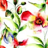 Seamless pattern Beautiful Poppy flowers Royalty Free Stock Photography