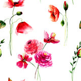 Seamless pattern with Beautiful Poppy and Gerbera flowers Royalty Free Stock Photography