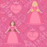 Seamless pattern with beautiful princess Stock Images