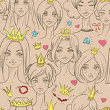 Seamless pattern with beautiful princesses. Vector illustration Stock Photo