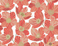 Seamless pattern beautiful red coral flowers background, stained glass style. Seamless pattern red flowers dryas background, stained glass style poppy Royalty Free Stock Photos