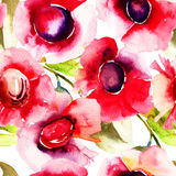Seamless pattern with  Beautiful red flowers Royalty Free Stock Images
