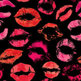 Seamless pattern with beautiful red lips prints Royalty Free Stock Images