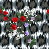 Seamless pattern with beautiful roses on background with abstr royalty free illustration