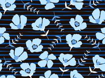 seamless pattern with beautiful small blue flowers on a black background royalty free illustration