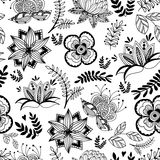 Seamless pattern of beautiful  stylized flowers in a retro style Royalty Free Stock Photography