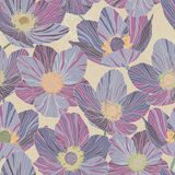 Seamless pattern beautiful violet flowers, beige background, stained glass style. Seamless pattern purple violet flowers dryas, beige background, stained glass Royalty Free Stock Photo