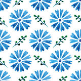Seamless pattern with beautiful watercolor cornflowers. Blue flowers. Background for your design and decor. Royalty Free Stock Images