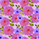 Seamless pattern with beautiful watercolor flowers and green leaves Royalty Free Stock Photography