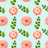 Seamless pattern with beautiful watercolor flowers and green leaves on blue background. Seamless pattern with beautiful watercolor flowers and green leaves Royalty Free Stock Photography