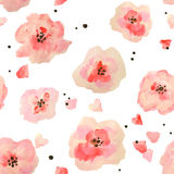 Seamless pattern with beautiful watercolor flowers on white background, vector  illustration Royalty Free Stock Photos