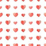 Seamless pattern of beautiful watercolor hearts Stock Photos