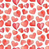 Seamless pattern of beautiful watercolor hearts Royalty Free Stock Photos