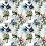 Seamless pattern with Beautiful wild flowers. Watercolor illustration Royalty Free Stock Image