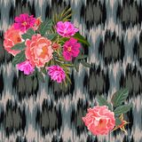 Seamless pattern with beautiful wild roses on  background with. Abstract grunge texture. Flower background for textile, cover, wallpaper, gift packaging Royalty Free Stock Photos
