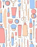 seamless pattern. Beauty saloon. Cosmetics and makeup. Pastel pink and blue color. Gentle background for girls. stock illustration