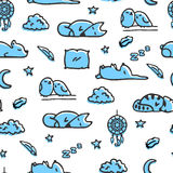 Seamless pattern with bedtime illustrations Royalty Free Stock Image