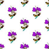 Seamless pattern with bee - 5 Royalty Free Stock Photo