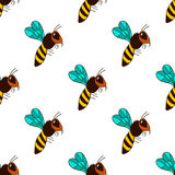 Seamless pattern with bee - 3 Royalty Free Stock Photo