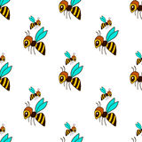 Seamless pattern with bee Stock Images