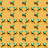 Seamless pattern with bee - 1 Royalty Free Stock Images