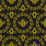 Seamless pattern with Bee Royalty Free Stock Image
