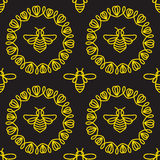 Seamless pattern with Bee Royalty Free Stock Photo