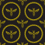 Seamless pattern with Bee Stock Photography