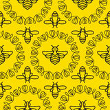 Seamless pattern with Bee Royalty Free Stock Images