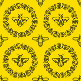 Seamless pattern with Bee Royalty Free Stock Photos