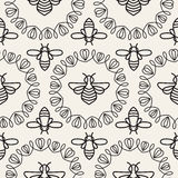Seamless pattern with Bee Stock Photo