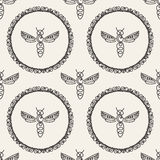 Seamless pattern with Bee Stock Image