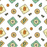 Zero waste pattern. Seamless pattern with bee-wax wrapping and fruit. Stationery and fabric print. Sustainable household and green house symbols. Plastic-free stock illustration