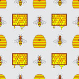 Seamless pattern beekeeping. Motley seamless pattern of beekeeping. Vector illustration Royalty Free Stock Photography