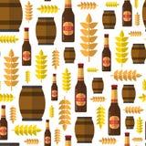 Seamless Pattern Beer Barrels And Bottles Ornament Oktoberfest Festival Holiday. Decoration Concept Flat Vector Illustration Stock Photography