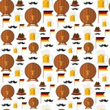 Seamless Pattern Beer Barrels And Mugs Ornament Oktoberfest Festival Holiday. Seamless Pattern Beer Barrels And Mugs Ornament Oktoberfest Festival Holiday Stock Images