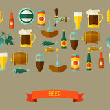Seamless pattern with beer icons and objects Royalty Free Stock Photography