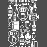 Seamless pattern with beer icons and objects Stock Photos