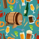 Seamless pattern of beer Stock Photos