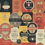 Seamless pattern with beer labels. Seamless pattern with various beer labels in retro style stock illustration