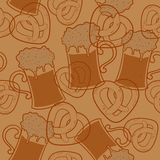 Seamless pattern with beer  and pretzels Royalty Free Stock Image