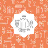 Seamless pattern beer and snack icons and emblem. Stock Images