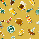 Seamless pattern with beer sticker icons and Stock Photography