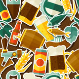Seamless pattern with beer sticker icons and Stock Image