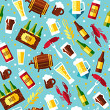 Seamless pattern with beer symbols on blue background.  Royalty Free Stock Photography