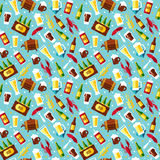 Seamless pattern with beer symbols on blue background. Stock Photo