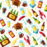 Seamless pattern with beer symbols on white background. Stock Photography
